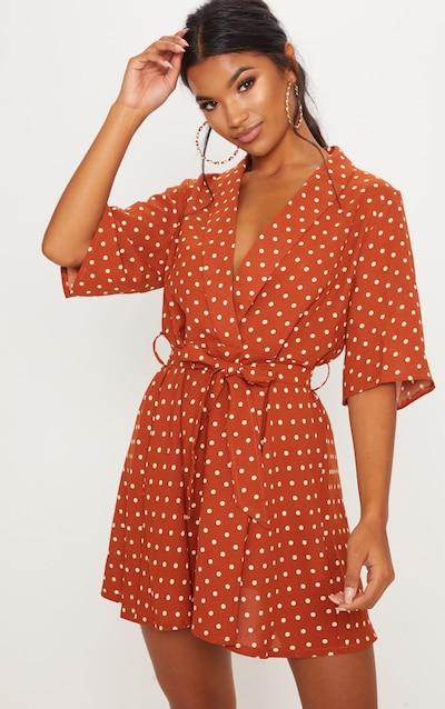 5f3bcf0b4a8 Terracotta Polka Dot Tea Dress
