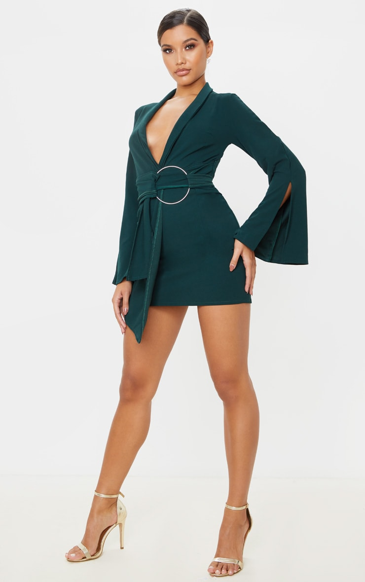 Emerald Green Oversized Ring Detail Blazer Dress 4