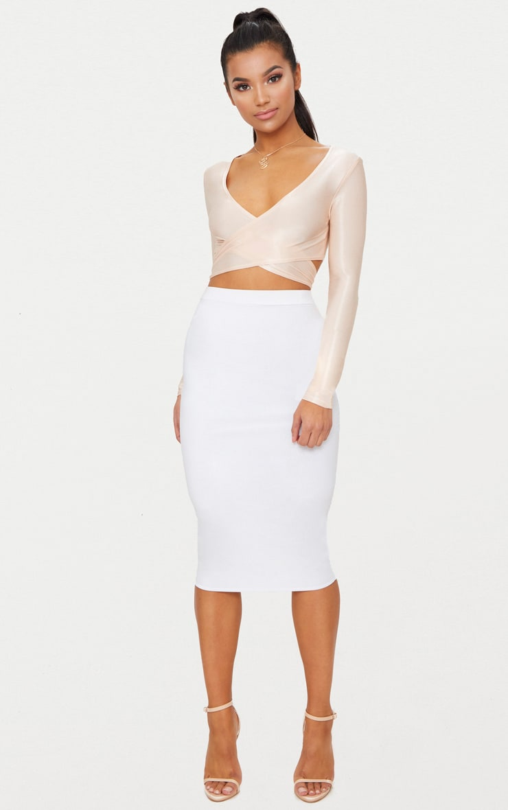 Blush Slinky Shimmer Tie Back Long Sleeve Crop Top 4