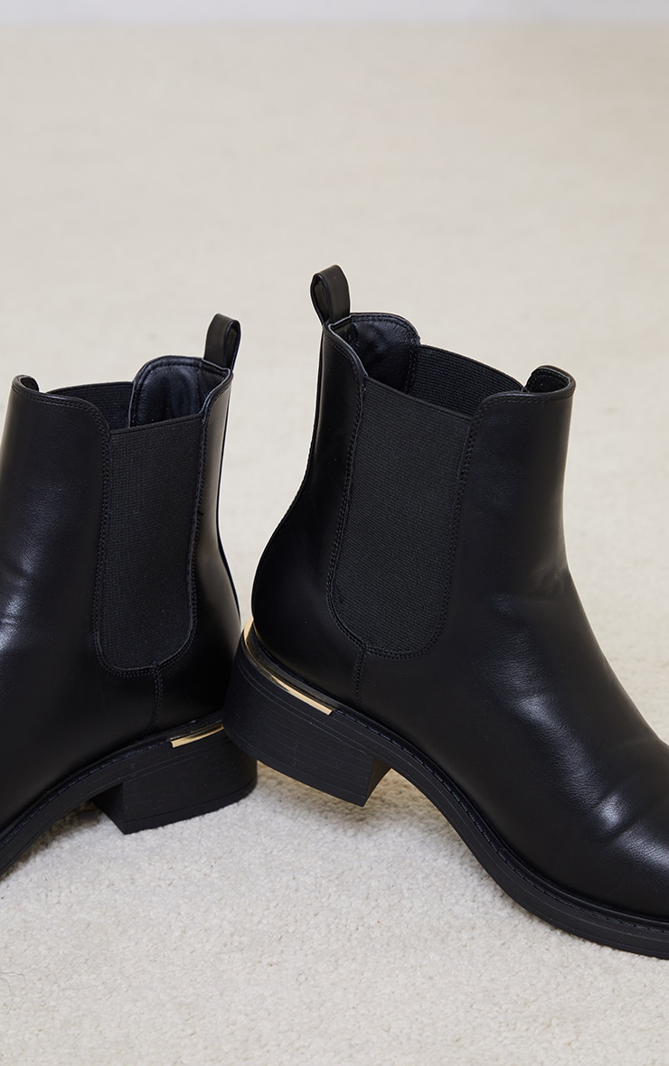 Black Wide Fit Basic Gold Trim Chelsea Ankle Boot 4