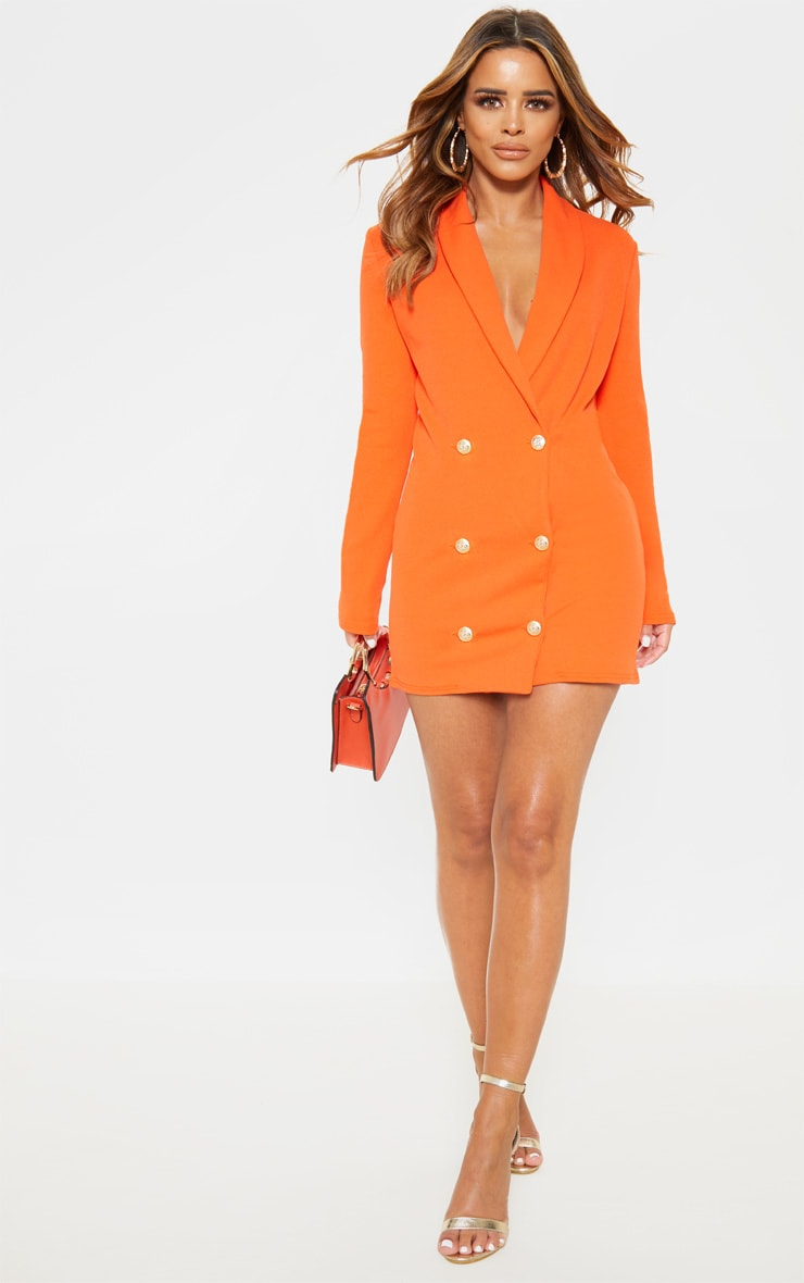 Petite Bright Orange Gold Button Blazer Dress 1