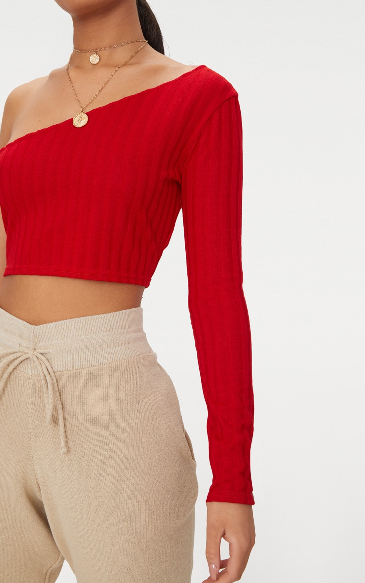 Red Rib Knit Long Sleeve Asymmetric Top 5