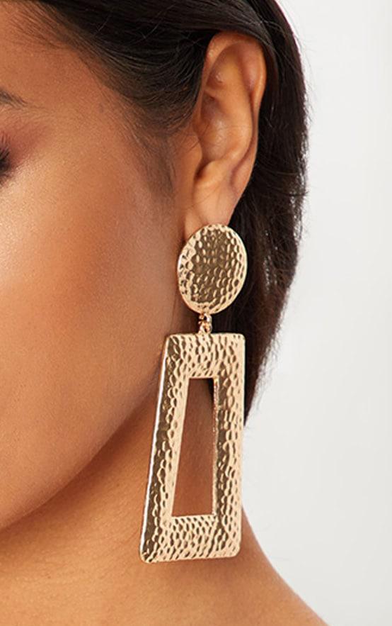 Gold Hammered Oversized Earrings 1