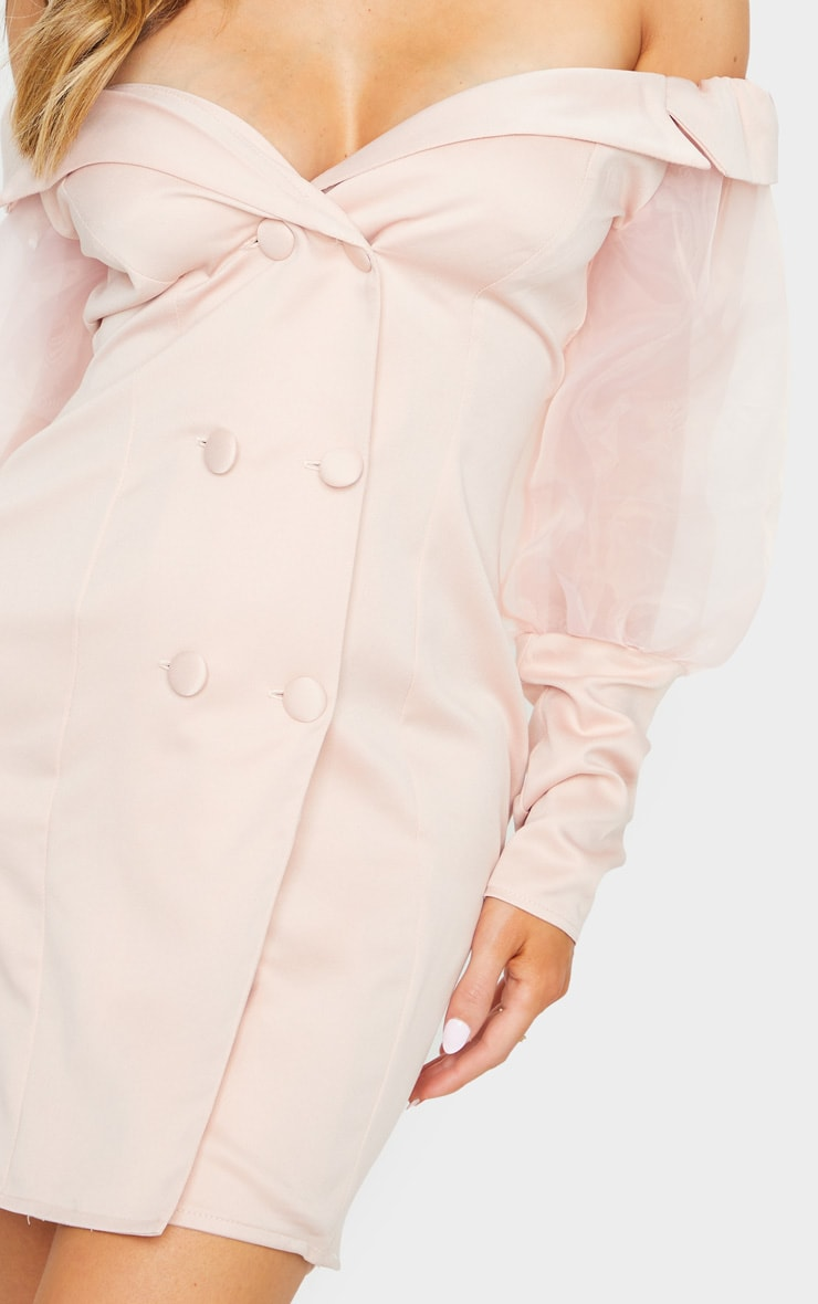 Blush Organza Bardot Sleeve Button Down Blazer Dress 4