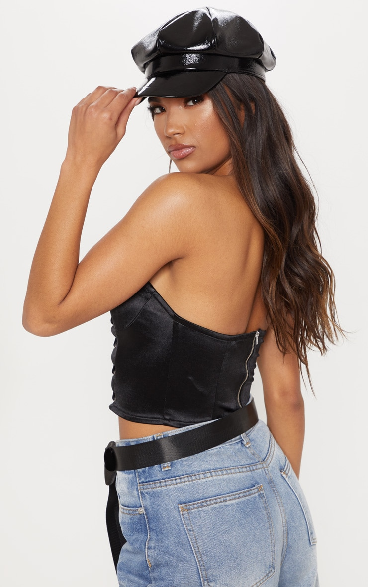 Black Lace Up Satin Crop Top 2