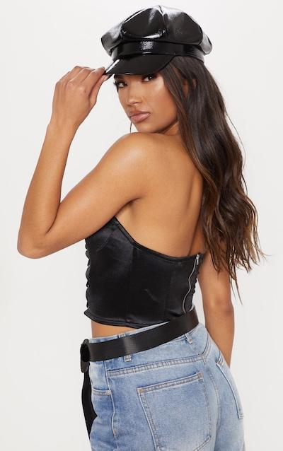 Black Lace Up Satin Crop Top