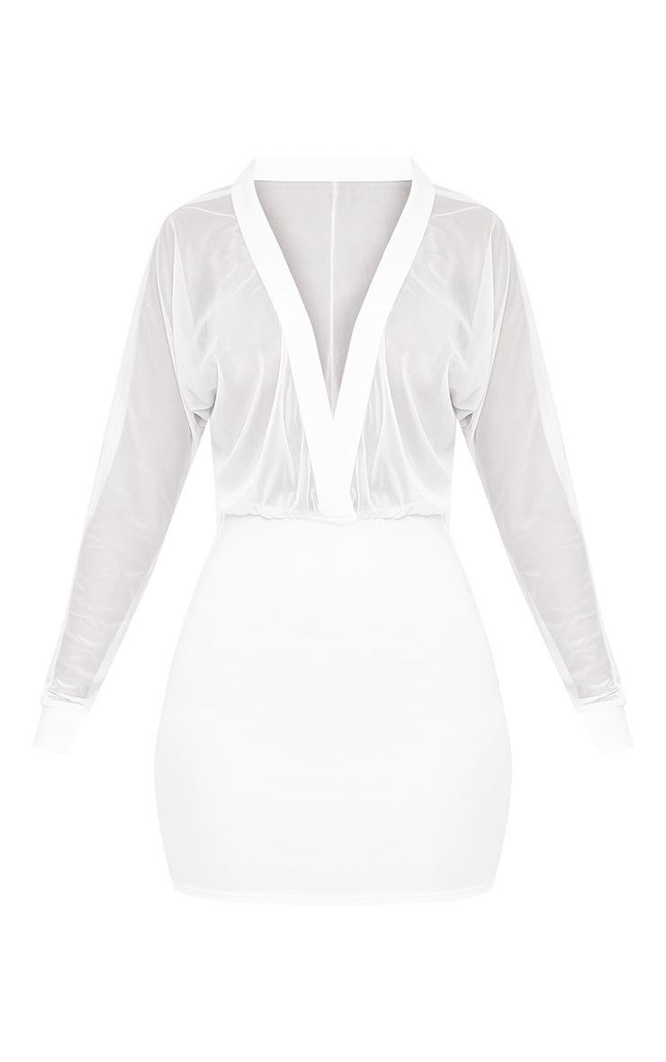 Trudy White Mesh Plunge Bodycon Dress 3