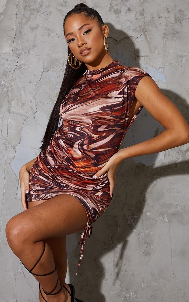 Brown Swirl Print Slinky Sleeveless High Neck Ruched Bodycon Dress 1