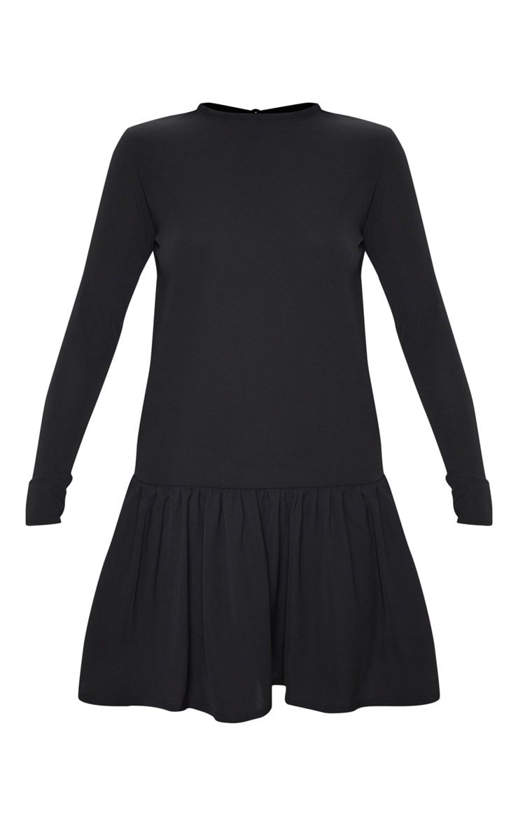 Black Long Sleeve Frill Hem Shift Dress 3
