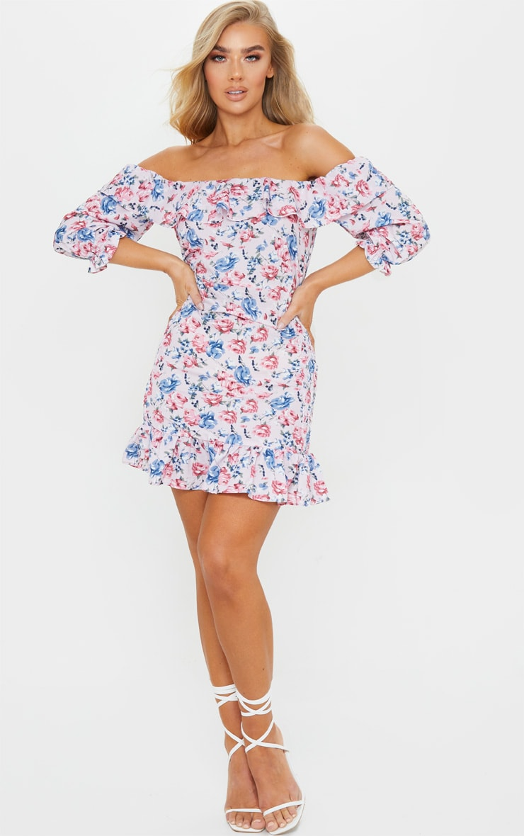 Pink Floral Print Shirred Side Bardot Bodycon Dress 3