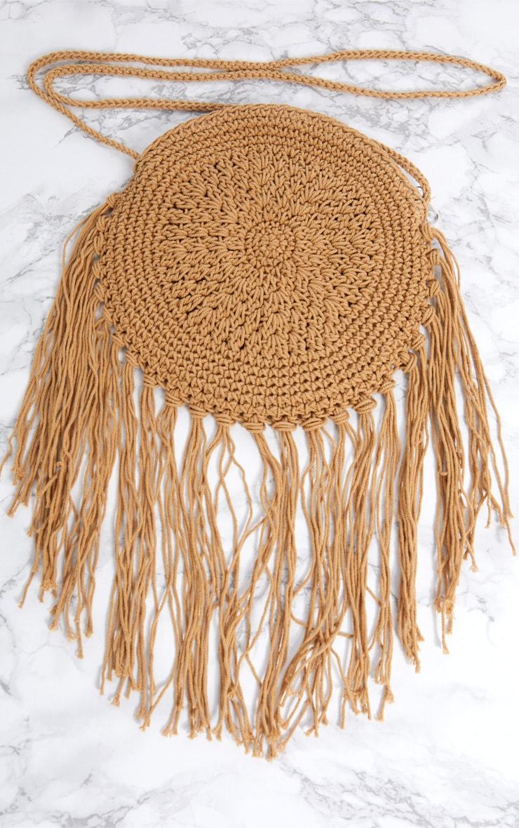 Cream Small Round Crochet Tassel Cross Body Bag 3