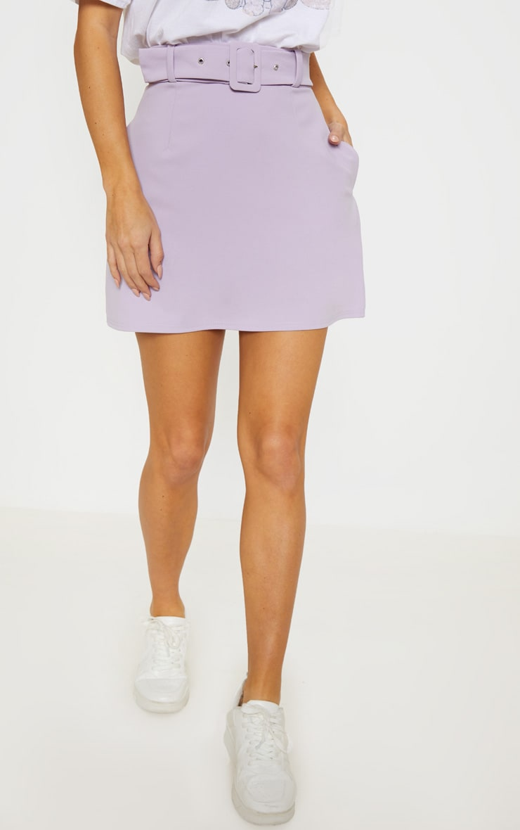 Lilac Belted A Line Mini Skirt  2