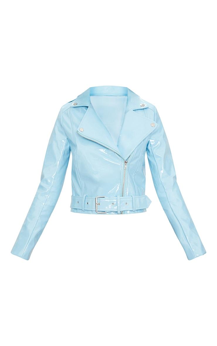 Blue High Shine Vinyl Biker Jacket 3