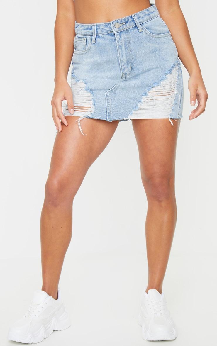 Petite Light Blue Wash Distressed Mini Denim Skirt 2