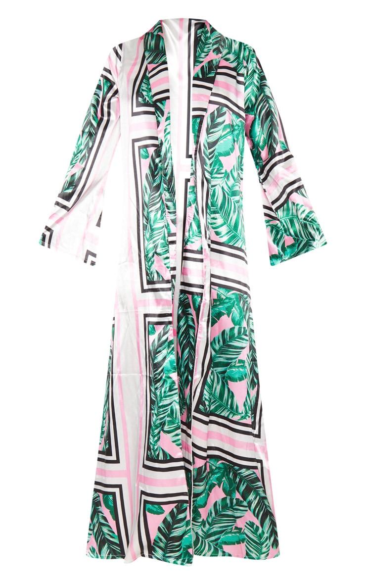 Pink Palm Print Satin Maxi Kimono 4