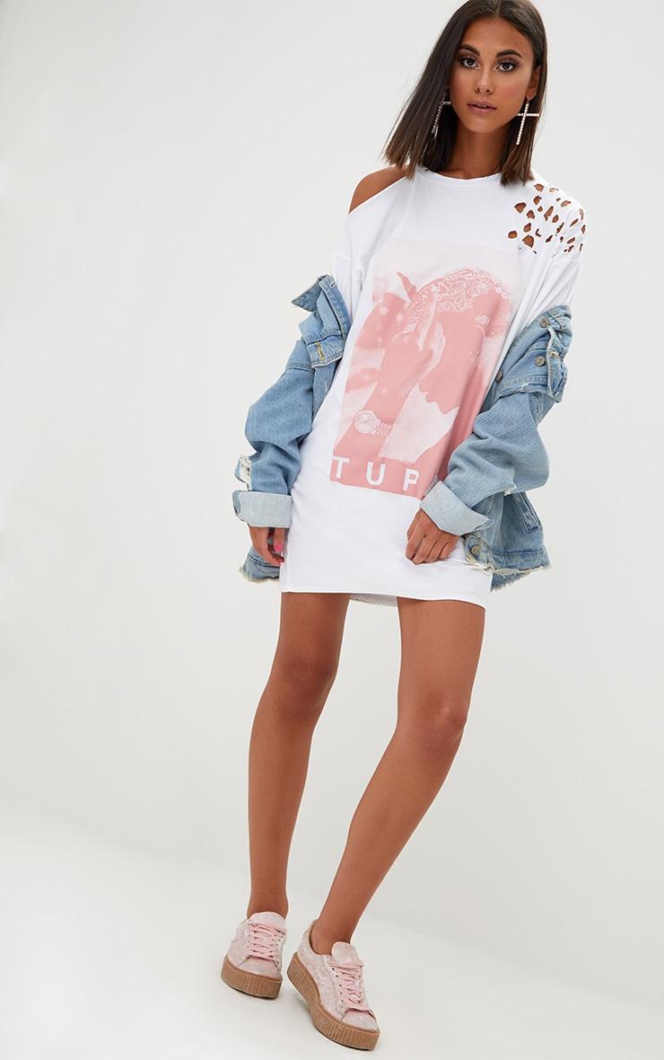 White Tupac Distressed T Shirt Dress 3