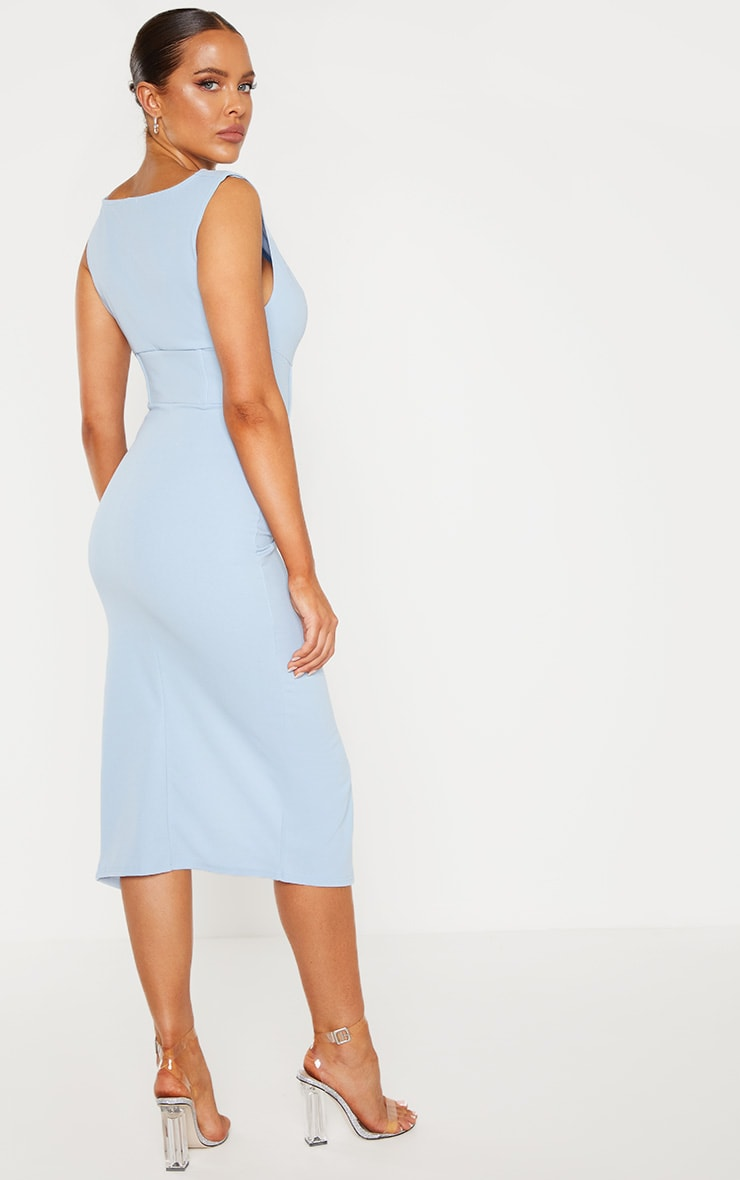 Dusty Blue Ruched Cowl Neck Midi Dress 2