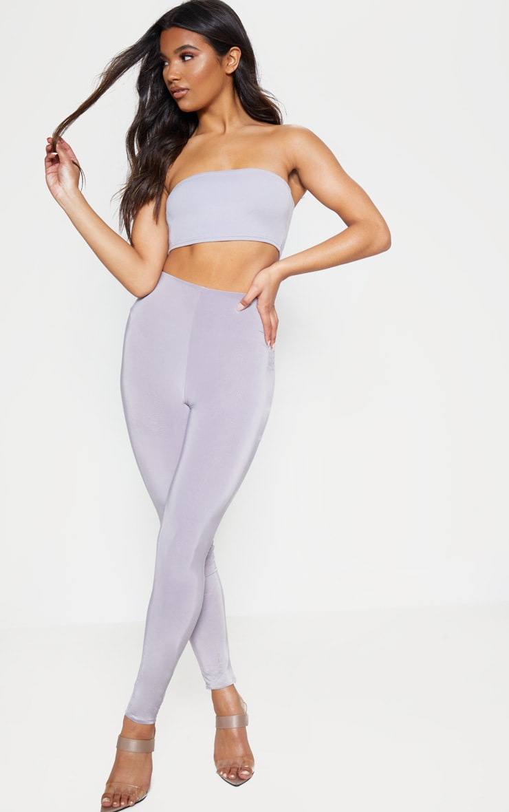 Dove Grey Crepe Bandeau Crop Top 4