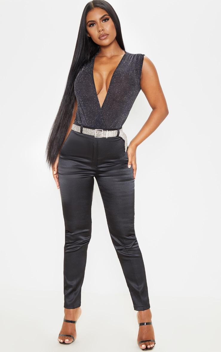 Black Textured Glitter Deep Plunge Bodysuit 5
