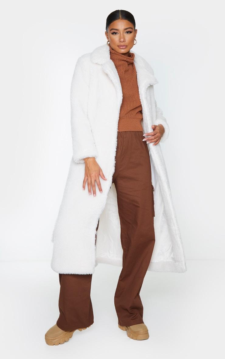 Cream Long Teddy Faux Fur Belted Coat 1