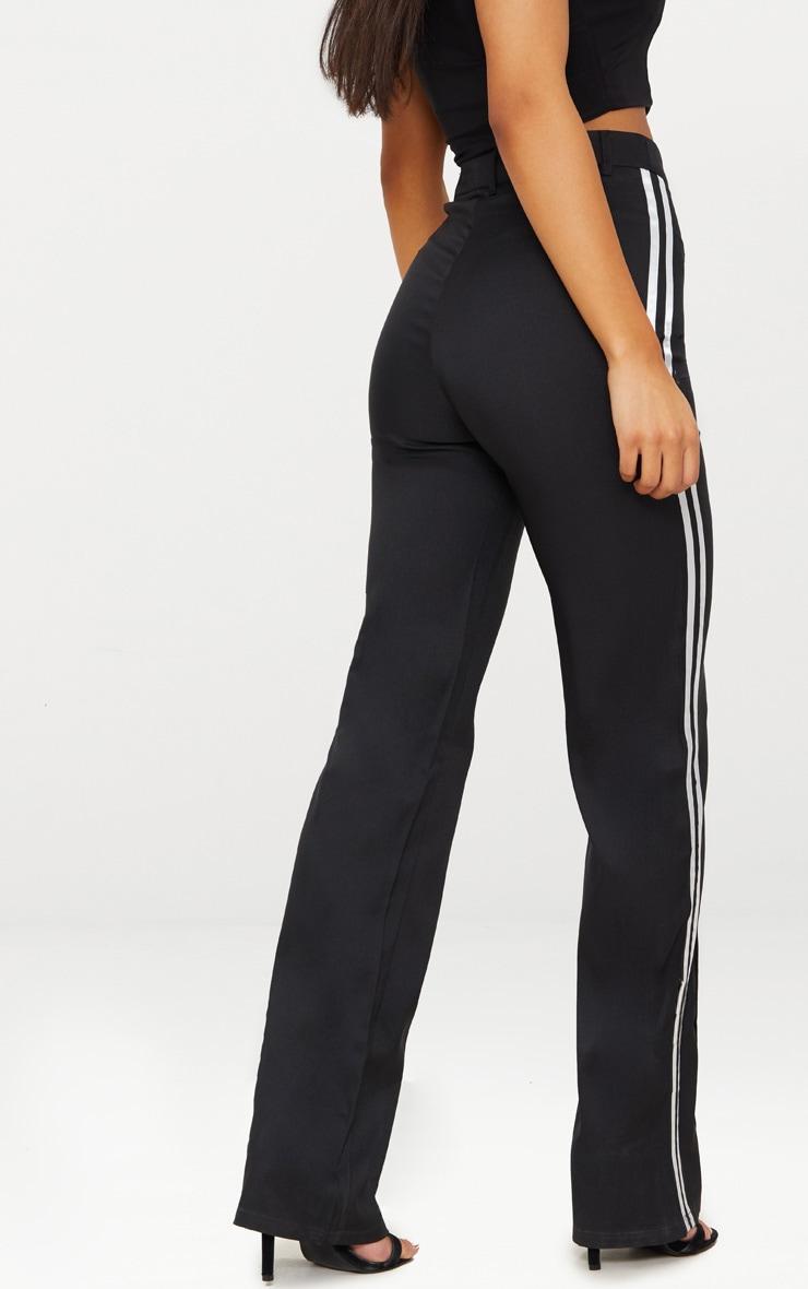 Pantalon noir taille haute à coupe droite et bandes latérales 4