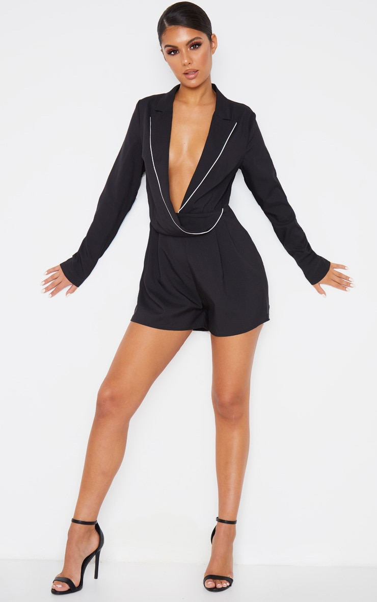 Black Piping Detail Draped Blazer Playsuit 1