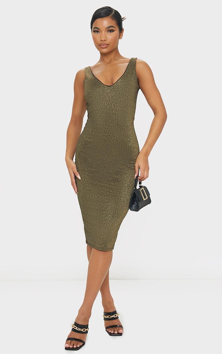 Gold Glitter Plunge Midi Dress 1