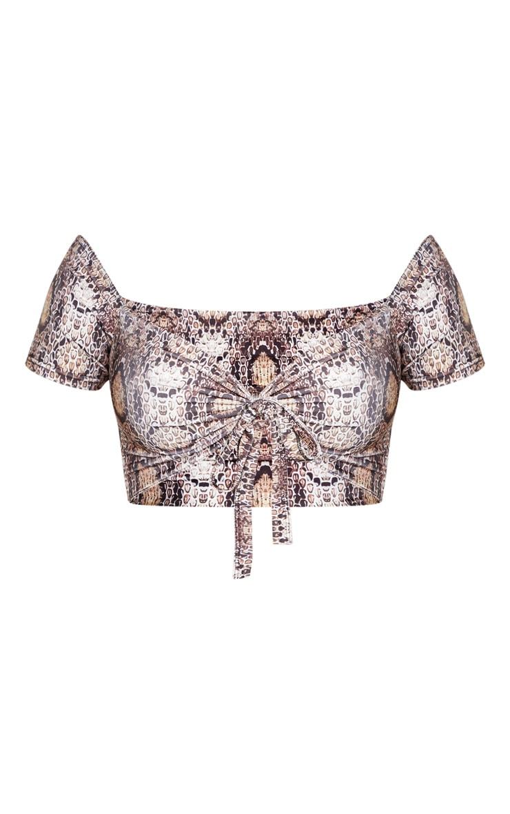 Shape Taupe Snake Print Bardot Tie Front Bikini Top 3