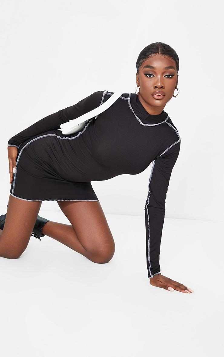 Tall Black Contrast Stich High Neck Bodycon Dress 1