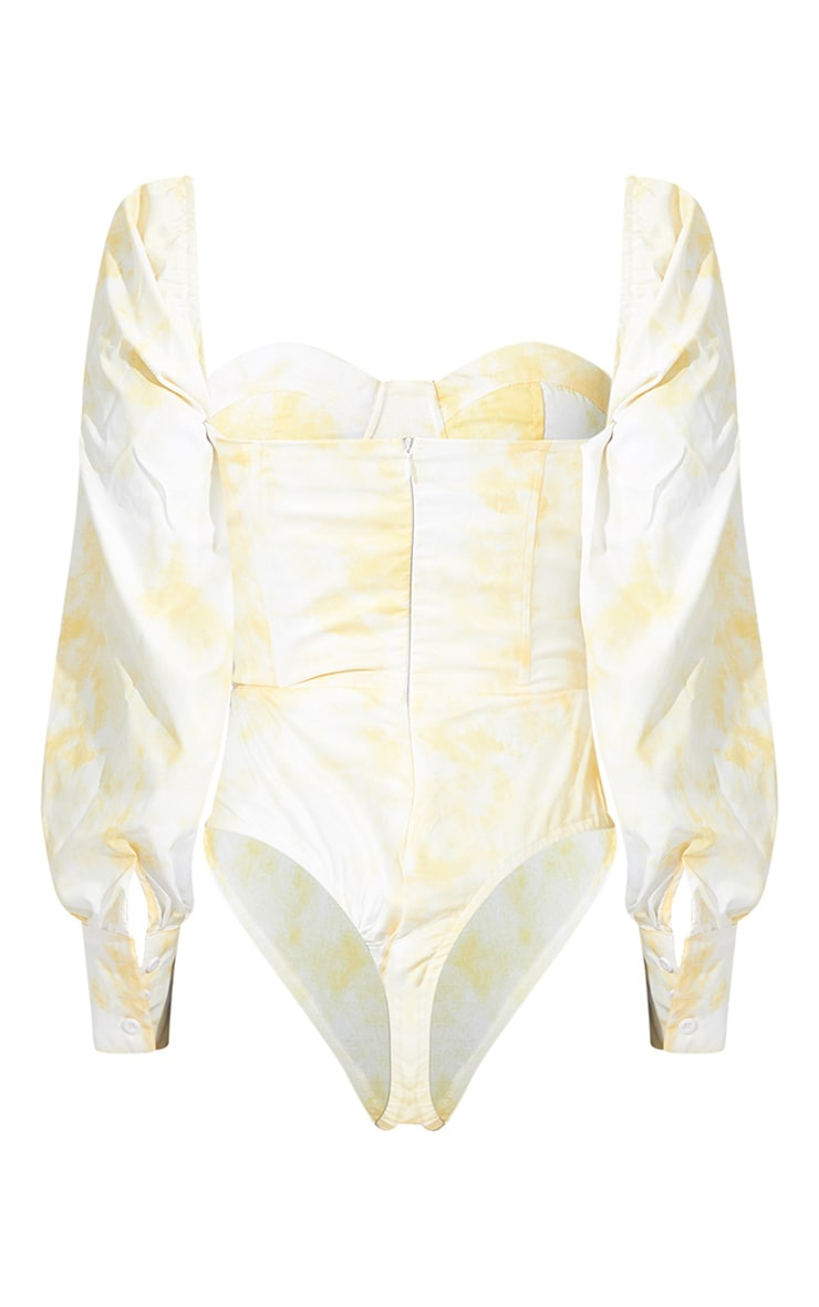 Tall Yellow Tie Dye Balloon Sleeve Cup Detail Bodysuit 5