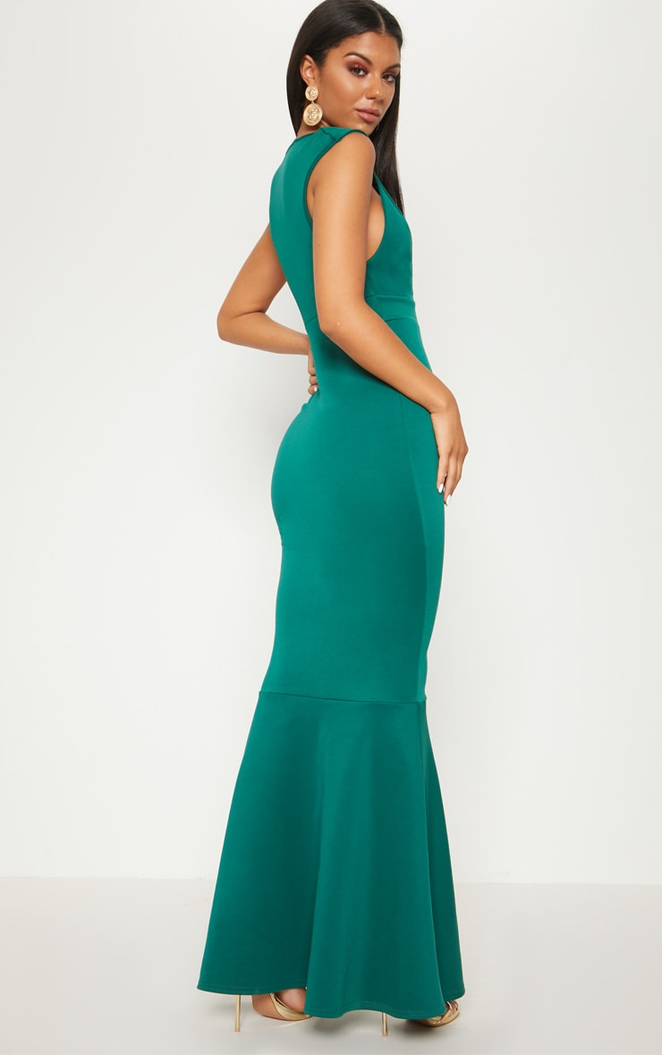 Emerald Green Extreme Plunge Shoulder Detail Fishtail Maxi Dress 2