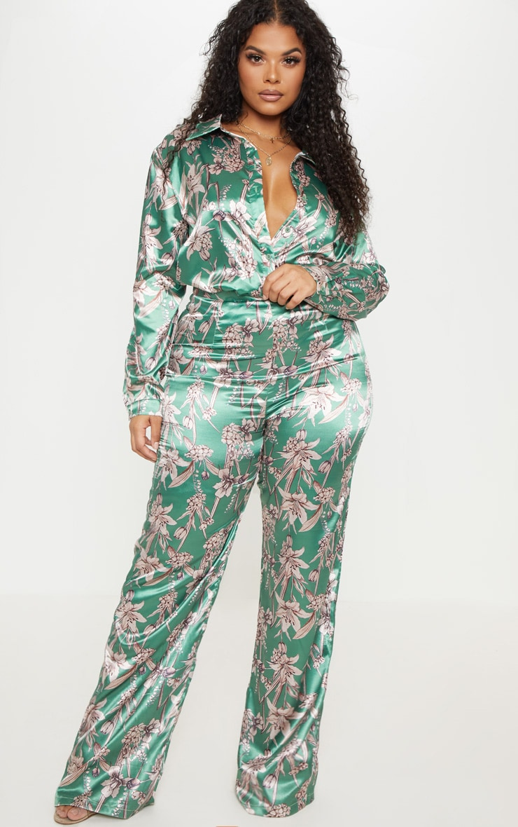 Plus Green Satin Floral Oversized Shirt  4