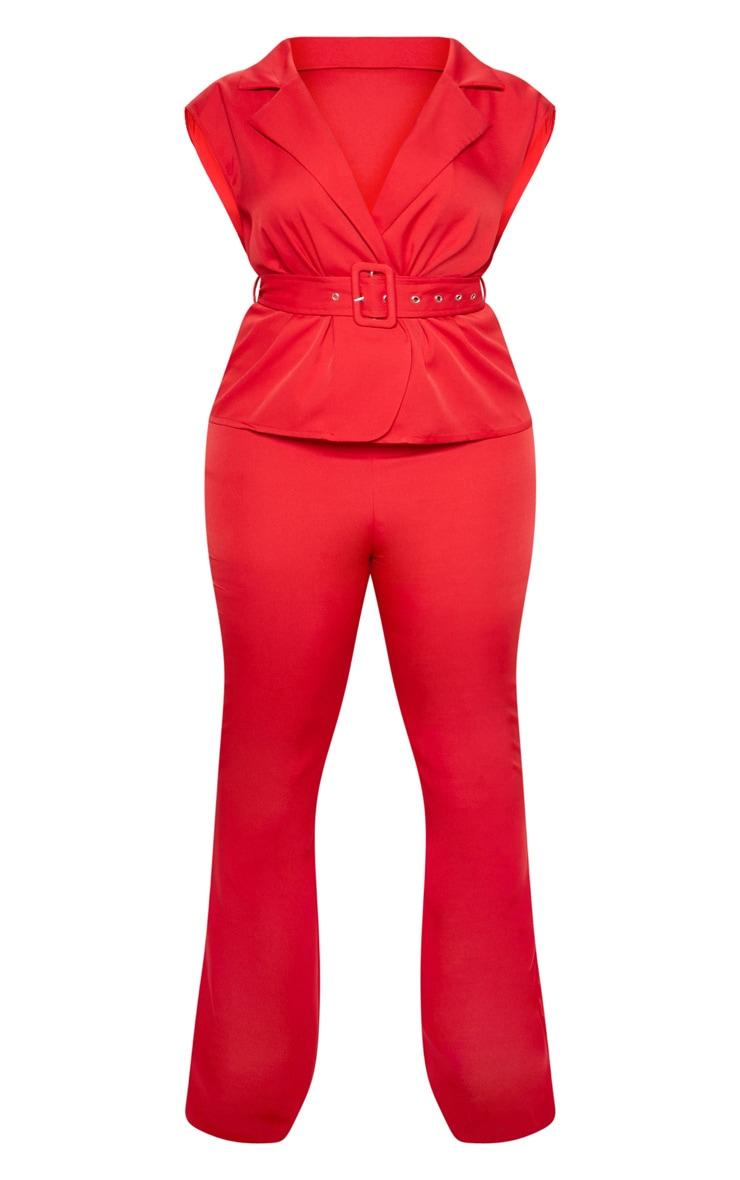 Red Peplum Belt Detail Jumpsuit 4