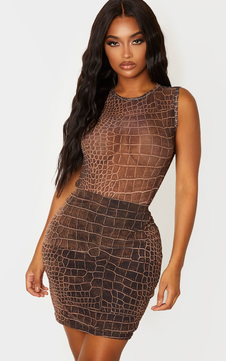 Shape Brown Croc Print Sheer Bodysuit 1