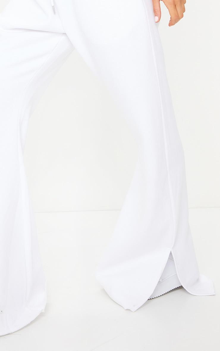 White Drawstring Waist Split Hem Flare Jogger 4