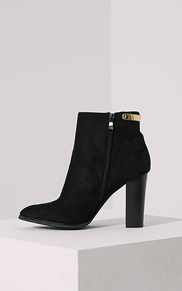 Kari Black Faux Suede Gold Plate Heel Boots 4