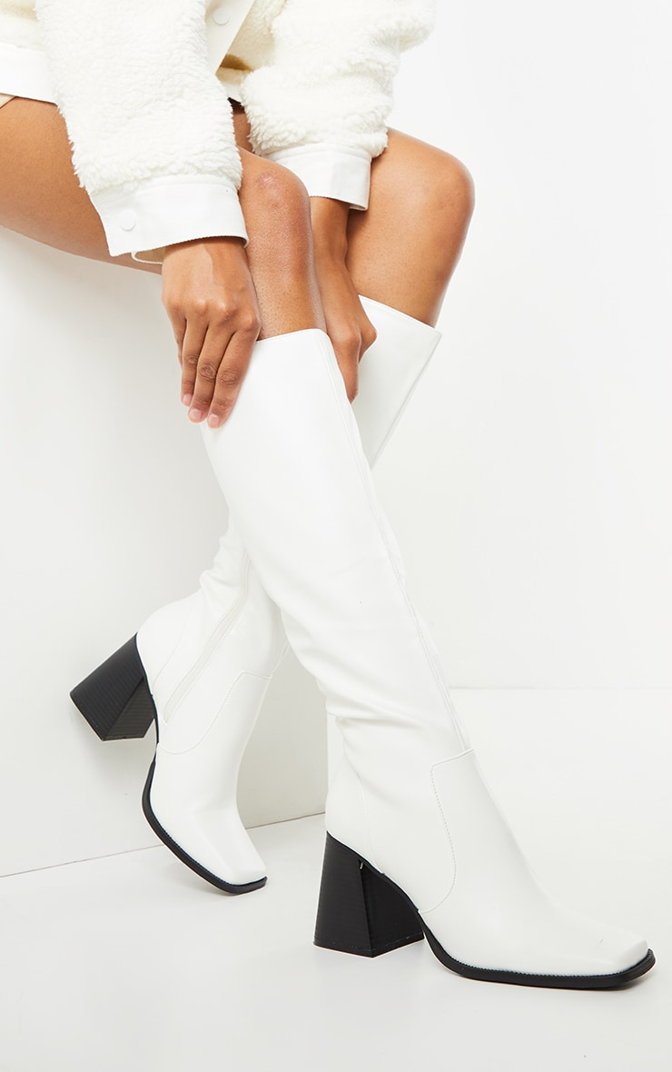 White Square Toe Flare Block Heel Knee High Boots 1