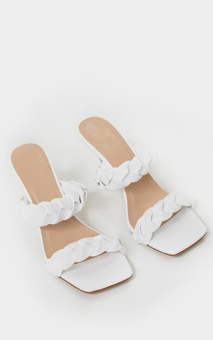 White Square Toe Twin Strap Pu Platted Mule Heels 4