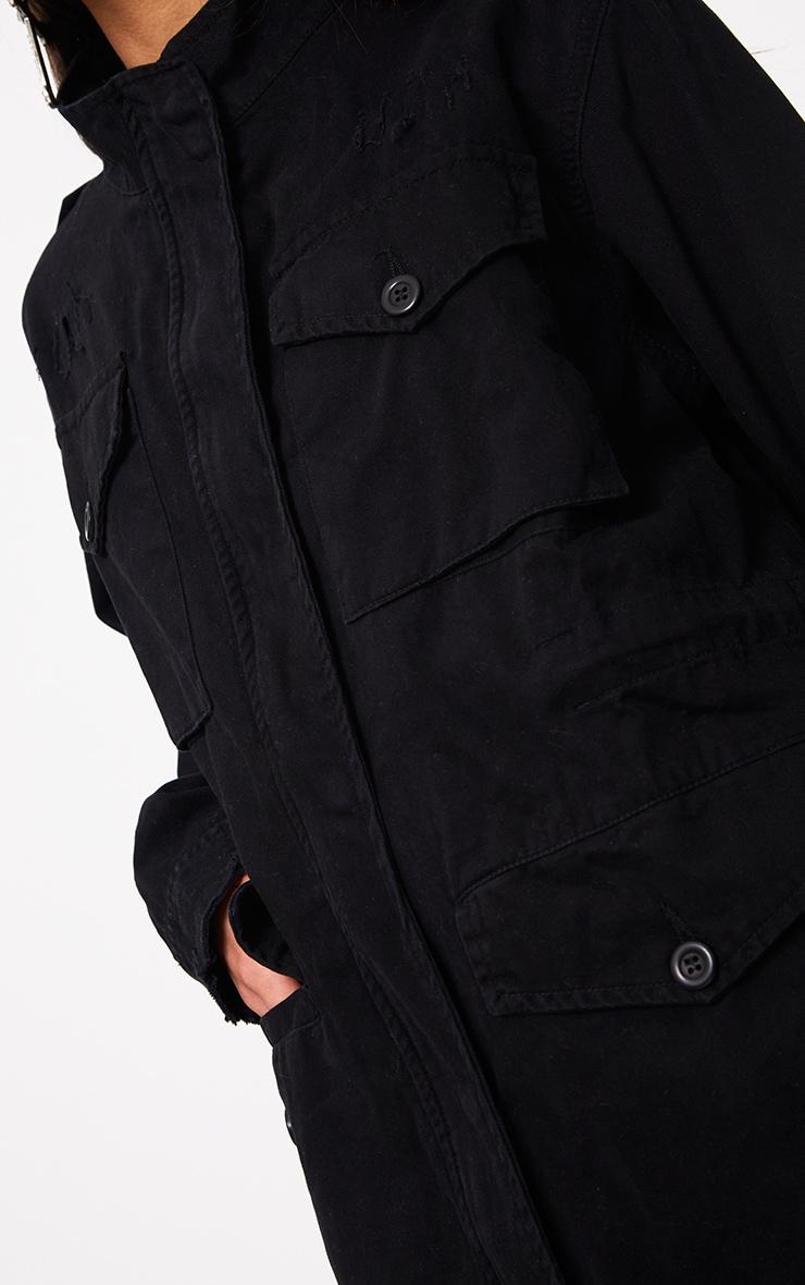 Aashia Black Distressed Utility Jacket 5