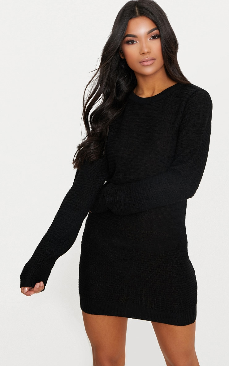 Black Fine Knit Sweater Dress 1