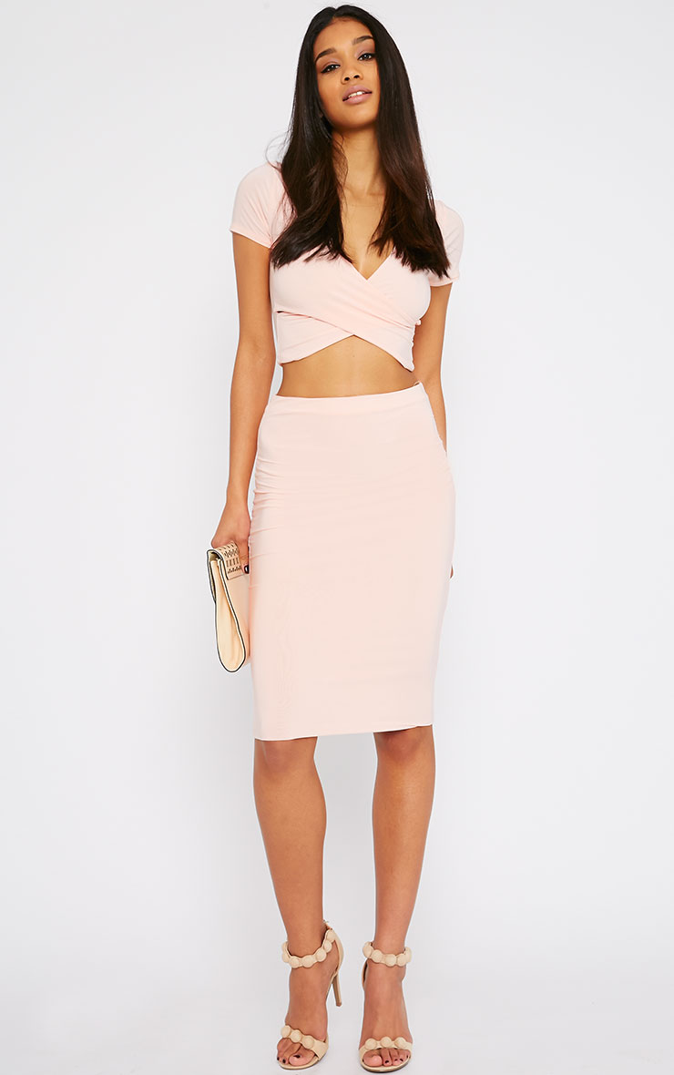Arabella Nude Slinky Cross Over Crop Top 3