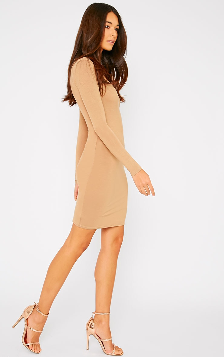 Basic Camel Wrap Dress 4