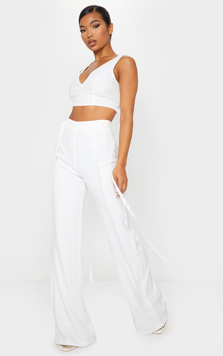 WHITE WOVEN HIGH WAIST SATIN TIE DETAIL FLARED TROUSERS