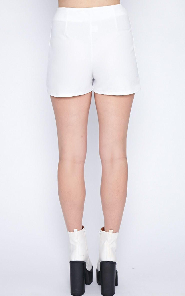 Aubrey White Textured High Waist Short  2
