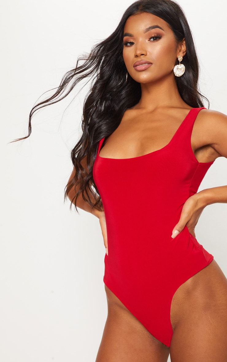 Red Second Skin Square Neck Sleeveless Thong Bodysuit  2