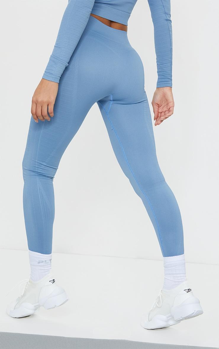 Blue Seamless Linear Textured Gym Leggings 3