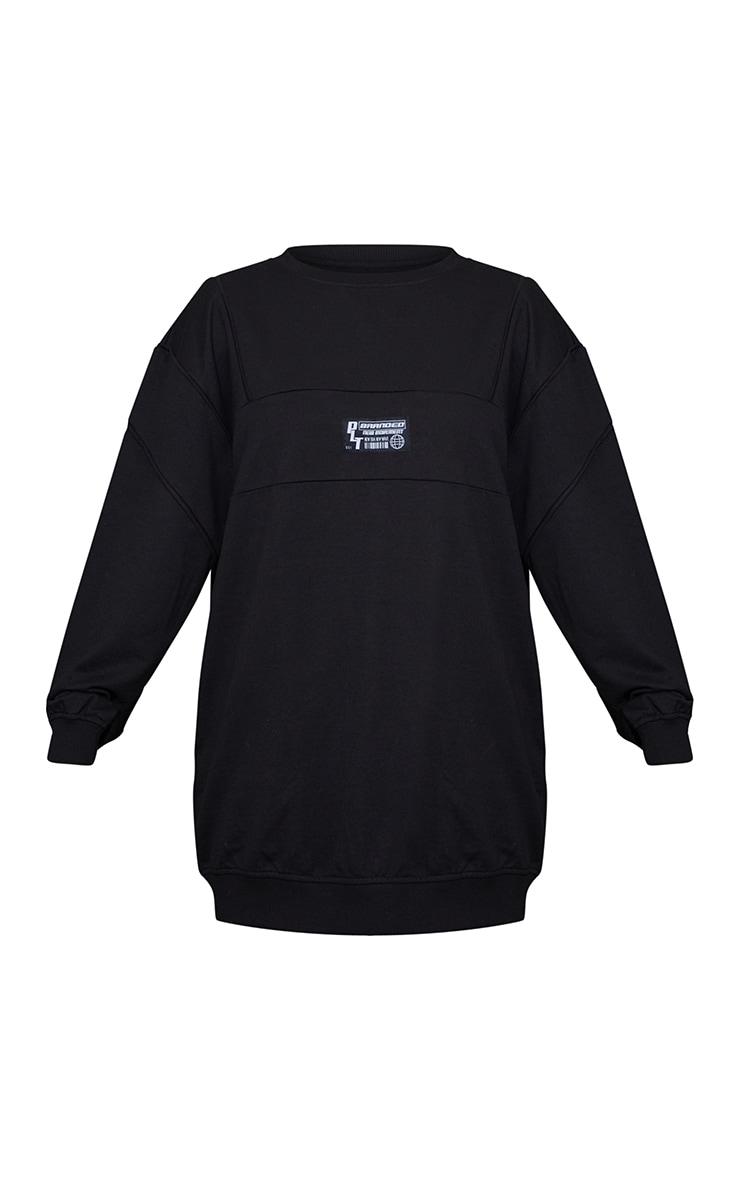 PRETTYLITTLETHING Badge Black Oversized Sweat Jumper Dress 5