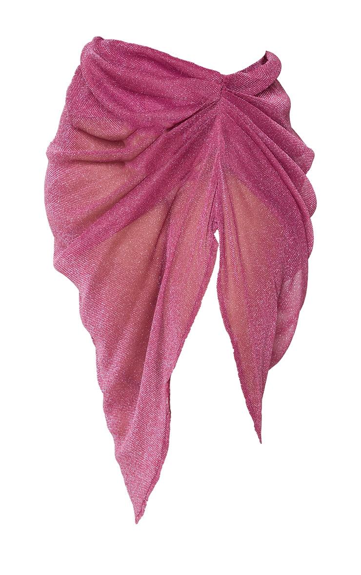 Plus Pink Sheer Glitter Ruched Midi Skirt 5