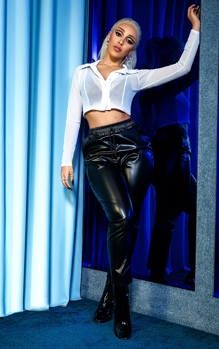 Black Faux Leather Crop Skinny Pants 1