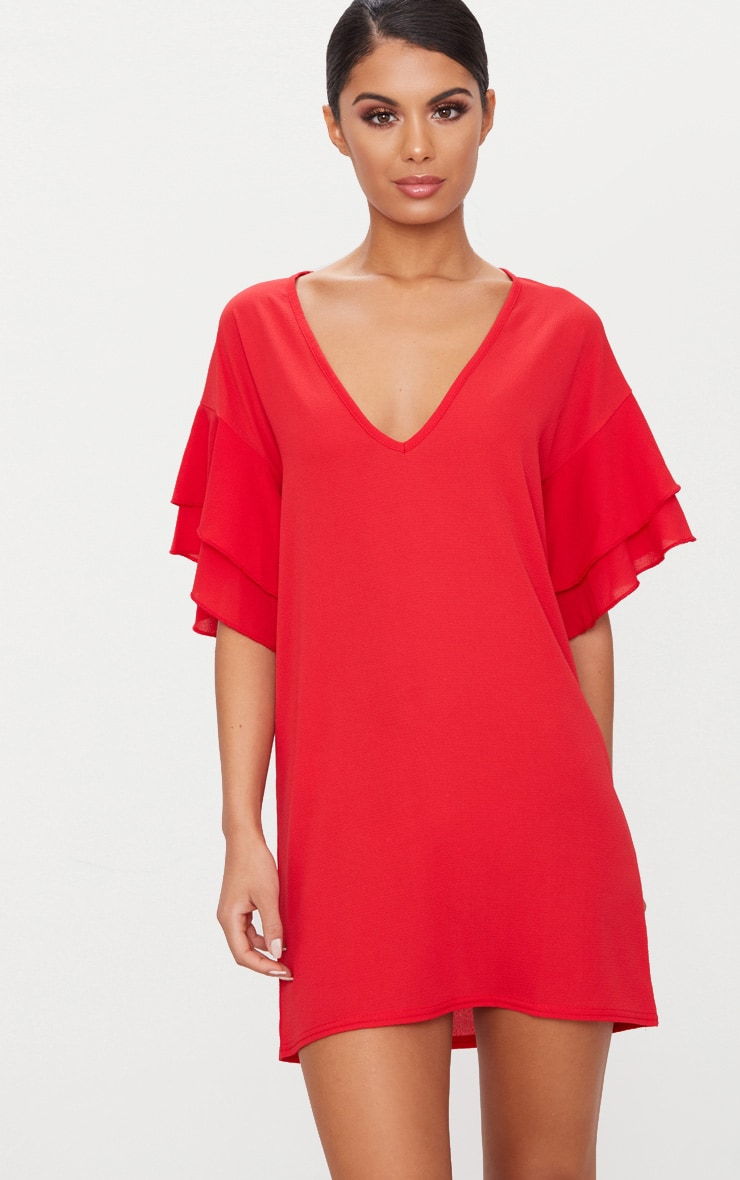 Red Double Frill Sleeve Shift Dress 1